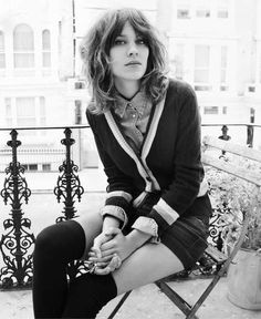Alexa Chung - love her shorts & above the knee socks with a button down & cardi