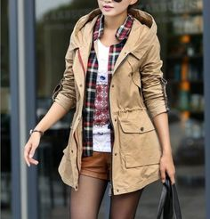 Women's Hooded Cargo Jacket with Plaid Details - I want this outfit