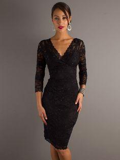Elegant Black Lace V-neckline Three-quarter Sleeves and Sequined Trim Wedding Guest Dresses