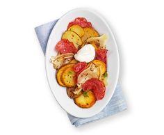 Kartoffelscheiben mit Fenchel und Salami - Rezept - Saisonküche