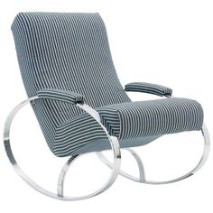Milo Baughman Style Chrome Framed Rocker | From a unique collection of antique and modern rocking chairs at https://www.1stdibs.com/furniture/seating/rocking-chairs/