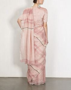 Pink And Violet Summer Stripes Sari-Anavila- Saree Wearing Styles, Saree Styles, Indian Dresses, Indian Outfits, Indian Attire, Indian Wear, Khadi Saree, Simple Sarees, Party Wear Lehenga