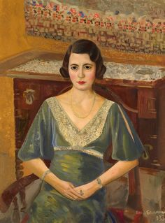 Lady in a Green Dress by Boris Grigoriev (1886, Rybinsk, near Moscow, Russia ~ 1939, Cagnes-sur-Mer, France)