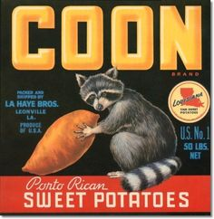 Fruit Crate Labels - Antique Vintage Art Fruit Coon Sweet Potatoes Painting