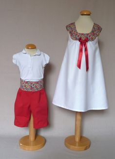 robe Constance liberty fleuri, satin rouge et coton blanc 1
