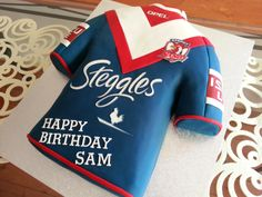 Nothing like celebrating an NRL 2013 Premiership win, than with a Roosters jersey birthday cake a couple of days later. My husband had no idea I did this for him. Surprised him with a night at Criniti's too with eight close friends Happy Birthday Sam, 75th Birthday Parties, Birthday Desserts, 50th Birthday, Birthday Cakes, Close Friends, Roosters, Chocolate Lovers, Creative Cakes