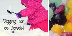 Fun outdoor winter activity with the kids. Create an ice jewel dig!
