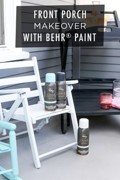 There's nothing like a new coat of paint to perk up your front porch! Get inspired by this DIY makeover from Andrea, of Salty Canary. She used BEHR® Chalk Decorative Aerosol Paint in Classic Noir, Surf, and Tin White to refresh these wood chairs. Click for the full tutorial for this easy project.