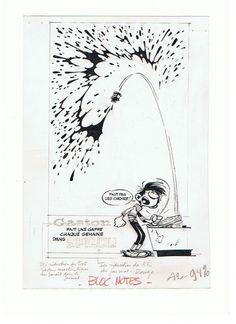André FRANQUIN : encre de chine et rehauts de gouache blanche pour une illustration de Gaston Lagaffe publiée dans un carnet bloc-notes offert par les Editions DUPUIS (carnet dans sa version jaune, 18 par 12 cm, 1961). Multiples annotations de la ...