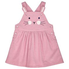 Buy John Lewis Baby Bunny Face Pinafore Dress, Pink Online at johnlewis.com