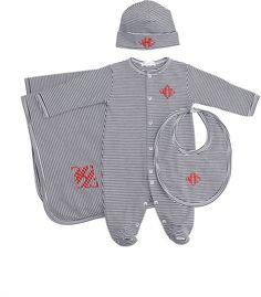 MONOGRAM SET!  Kissy Kissy Striped Footie, Hat, Bib & Blanket... Perfect baby gift.