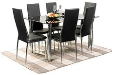 Merax® 7PC Glass Top Dining Set 6 Person Dining Table and Chairs Set Kitchen Modern Furniture Dining Dinette (7pcs)