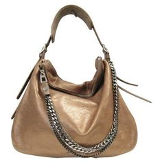 Pre-Owned Jimmy Choo 141 Frappe Metallic Shimmer Leather Hobo Bag ($864) ❤ liked on Polyvore featuring bags, handbags, shoulder bags, white shoulder bag, white handbags, leather purses, chain shoulder bag and leather hobo purses