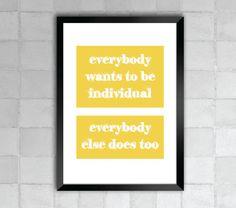Everybody Lyric Quote 8x10 Art Print by LyricWall on Etsy