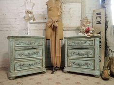 I am not usually a fan of blue, but I dig these. This Romance Nightstand has lots of carved details and jewel-like, crystal accent hardware. Beautiful carvings and elegant bun feet accentuate the rounded pilasters, and plenty of storage with three drawers. Create the perfect cottage boudoir with Romance Nightstand on either side of your bed.