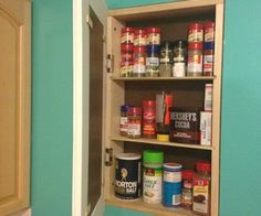 We& got a secret; You can make a hidden DIY storage space with this Secret Storage DIY Cabinet. Learn how to build a recessed storage cabinet and save yourself space with this homemade storage idea. Diy Storage Space, Wall Storage, Bathroom Storage, Kitchen Storage, Storage Ideas, Diy Cabinets, Storage Cabinets, Spice Cabinets, Kitchen Cabinets