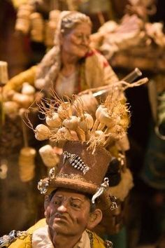Close-up of a Popular Neapolitan nativity figure, showing the detailed work done by artists Fulvio and Gabriella Forte in their shop on Via San Gregorio Armeno, Naples, Italy.