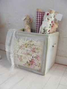 12th scale shabby chic material boxhaberdashery by shabbychicminis, $40.00