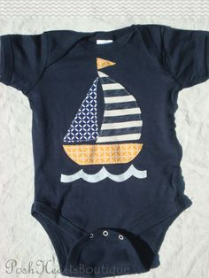 Sailboat Applique Baby Onesie/Bodysuit Navy by PoshHeartsBoutique, $18.00