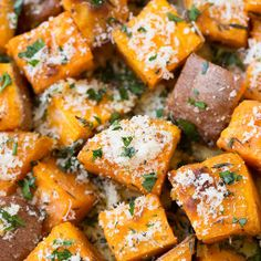 Garlic-Herb Roasted Sweet Potatoes with Parmesan recipe: Try this Garlic-Herb Roasted Sweet Potatoes with Parmesan recipe, or contribute your own. Try this Garlic-Herb Roasted Sweet Potatoes with Parmesan recipe, or contribute your own. Side Dish Recipes, Vegetable Recipes, Vegetarian Recipes, Cooking Recipes, Healthy Recipes, Yam Recipes, Recipies, Dishes Recipes, Drink Recipes