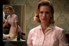 Betty Draper's pink striped dress on Mad Men Betty Draper, Mad Men Characters, Vintage Men, Vintage Fashion, Men Tv, January Jones, Mad Men Fashion, Striped Shirt Dress, Young Professional