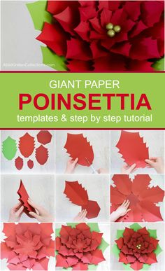 DIY Giant Paper Poinsettia Tutorial: Christmas Paper Poinsettias tutorial and template. Get your home or party festive and fun with this lovely craft!DIY Christmas Garland - How to Make Giant Paper Holly GarlandMetal Wall Art Home DecorationArts And Paper Christmas Decorations, Christmas Paper Crafts, Christmas Flowers, Paper Crafts For Kids, Holiday Crafts, Christmas Diy, Diy And Crafts, Holiday Decor, Crochet Christmas