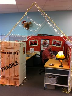 "During our holiday cube decorating contest, the winner decked his out in full ""A Christmas Story"" glory, complete with a leg lamp!"