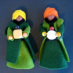 pipecleaner, chenille wire, felt and beed nativity set