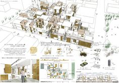 どこかでみた、どこにもない街 Japan Design, Architecture Graphics, Landscape Architecture, Presentation Board Design, Vertical City, Kindergarten Design, Diagram Design, Social Housing, Type Setting