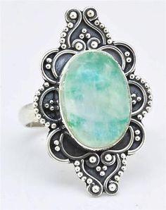 Green Moonstone Gemstone Ring