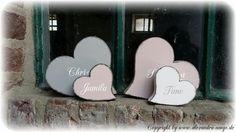 Herz, Herzen aus Holz für die Familie 4 Stck. von Handgemachte Holzarbeiten & dekorative Geschenke by Alexandra Sangs auf DaWanda.com