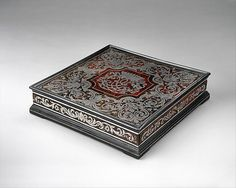 Writing Box  --  Circa 1715-20  --  German, Franconia  --  Oak, cedar, exotic hardwood, & ebonized fruitwood; marquetry in pewter, brass, tortoiseshell & silver  --  The Metropolitan Museum of Art