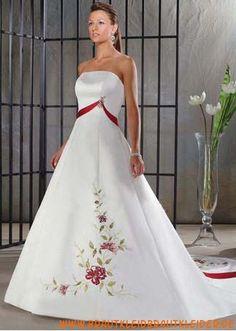 Klassisches Brautkleid aus Satin A-Linie mit Applikation