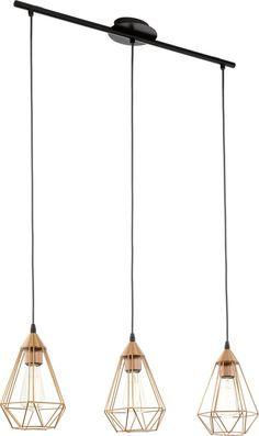 EGLO Vintage Tarbes - Hanglamp - Draadlamp - 3 Lichts - Lengte 790mm. - Zwart - Koper