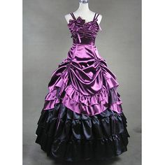 Affordable Double Shoulder Strips Multi Layers Purple Gothic Victorian Dress