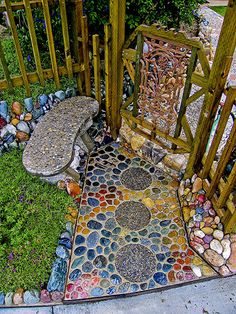 colorful gate and entryway in garden
