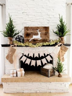 Rustic Christmas mantel decorations ideas.