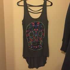 Skull tank. Never worn Grey. Multicolored skull tank. Teenage Runaway Tops Tank Tops