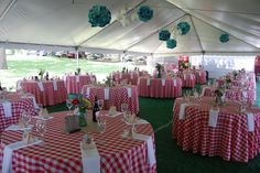 Keep things simple for summer with a picnic themed reception...blue or yellow table cloths,burlap table cloths, or even white table cloths with checked napkins from other pin