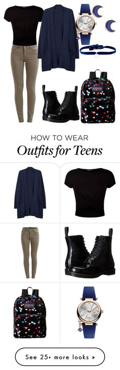 """Back To School 6"" by destinyfaith1207 on Polyvore featuring VILA, JanSport, New Look, Dr. Martens, MANGO, claire's, Vivienne Westwood and DANNIJO"