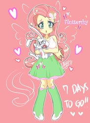 Size: 872x1200 | Tagged: angel bunny, artist:aizy-boy, clothes, countdown, equestria girls, fluttershy, heart eyes, nail polish, pixiv, safe, skirt, tanktop, wingding eyes