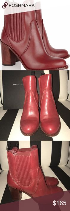 Marc by Marc Jacobs strawberry red ankle boot Marc by Marc Jacobs strawberry red leather ankle boot. Absolutely gorgeous. Gently worn. Size 10. Retail price $450. Comes with box. Marc By Marc Jacobs Shoes Ankle Boots & Booties