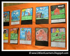 Loads of Charlotte's Web ideas.  Make watercolor barn with an acrostic poem under it about the setting