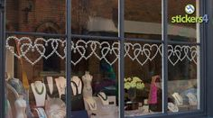 Diamonds & Pearls Hearts Border Window Cling Sticker - perfect for jewellery shop retail Valentine's Day window displays