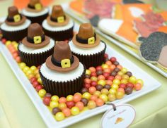 Thanksgiving Pilgrim Cupcakes !  Custom Dessert Bar styled by Ganache. Like us at www.facebook.com/styledbyganache