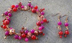 Juicy Wire Wrapped Charm Bracelet and Earrings by CinnamonLotus, $30.00