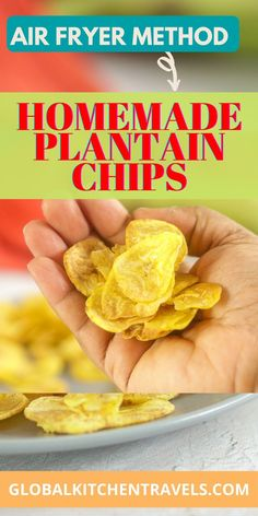 Healthy Green Plantain Chips (Kerala Banana Chips) are easily made in the Air Fryer in just a few minutes, with a fraction of the calories. No need for the pot of oil to enjoy this delicious Gluten Free, Paleo, Diabetic Friendly Snack! Plantain Chips Air Fryer || Air Fryer Green Plantains #airfryerrecipes #plantainrecipes Best Appetizer Recipes, Snacks Recipes, Delicious Recipes, Yummy Food, Homemade Banana Chips, Air Fryer Chips, Plantain Recipes, Crispy Chips, African Recipes