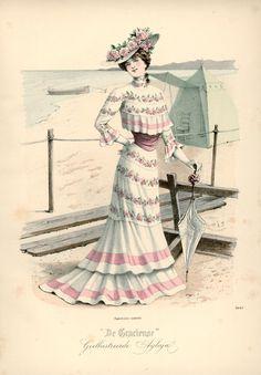 Seaside dress, 1901 the Netherlands, De Gracieuse