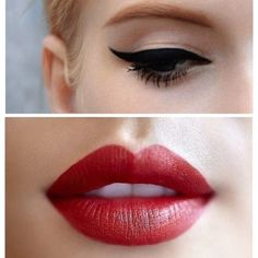 Dark eyes red lips