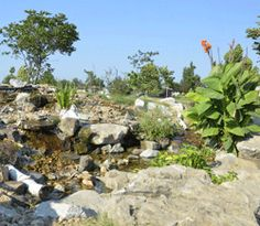 A rock and water feature at Parr Hill Park in Joplin, Missouri.
